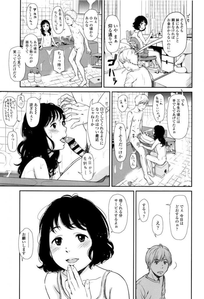【エロ漫画】11歳の妹に500円払ってフェラ抜きしてもらう兄!1000円で初エッチできた!【鬼束直】