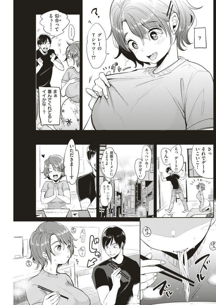 【エロ漫画】彼女にグレーのTシャツを着せて汗染みを楽しむ変態性癖な男!汗だくになった彼女に興奮して脇汗を舐め吸い!彼女も興奮してマン汁が大洪水!つゆだく!【もじゃりん】